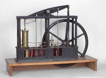 Maquette de démonstration d'une machine à vapeur à piston et à balancier (image)