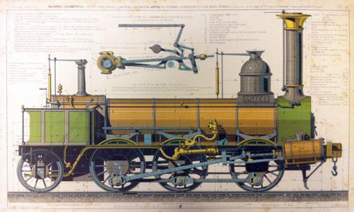 Dessin simplifié de la locomotive « Antée » (ilage)