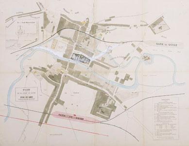 Plan de la ville de Guise : étude des gares (image)