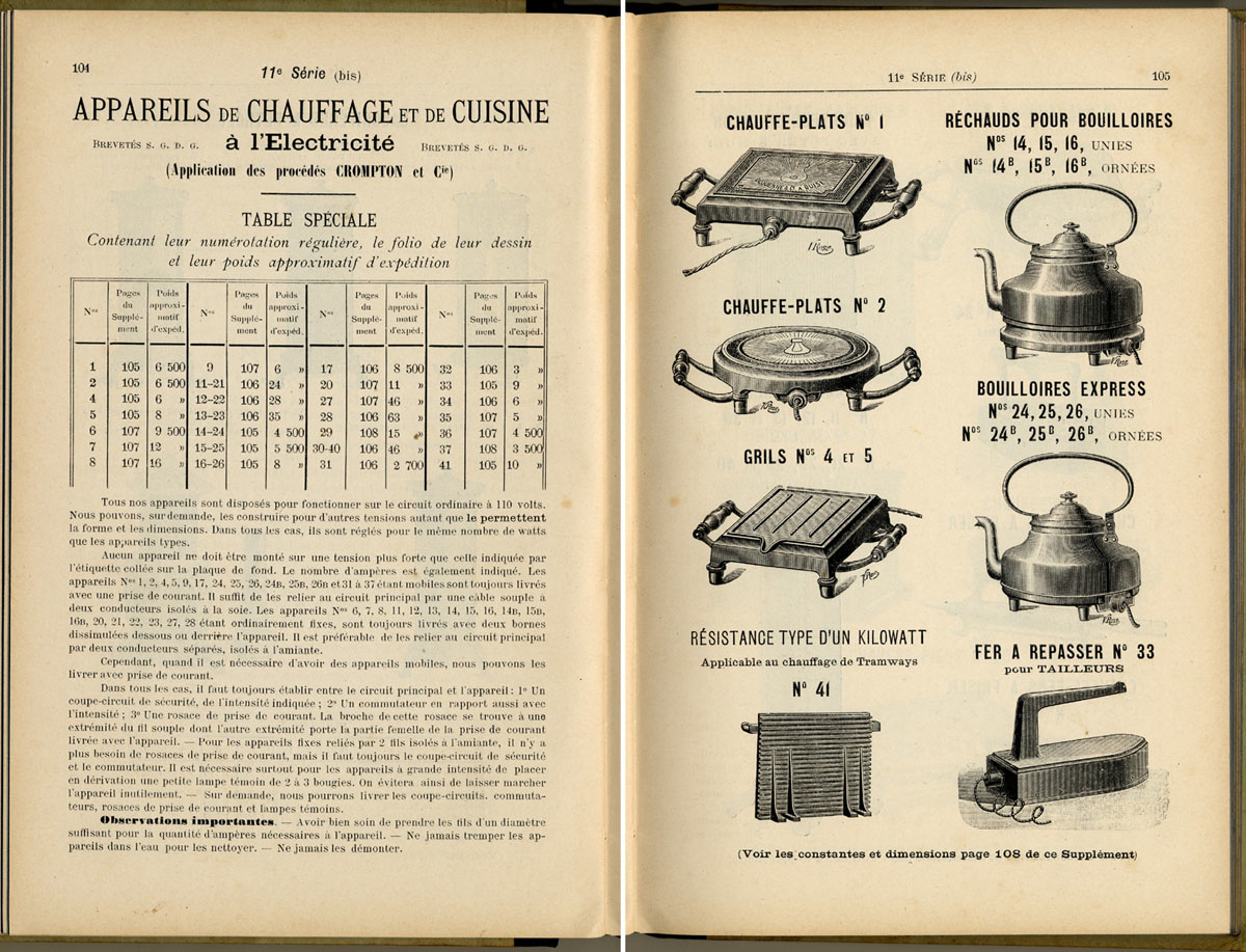 Les pages de ce catalogue présentent les appareils électriques produits par la S