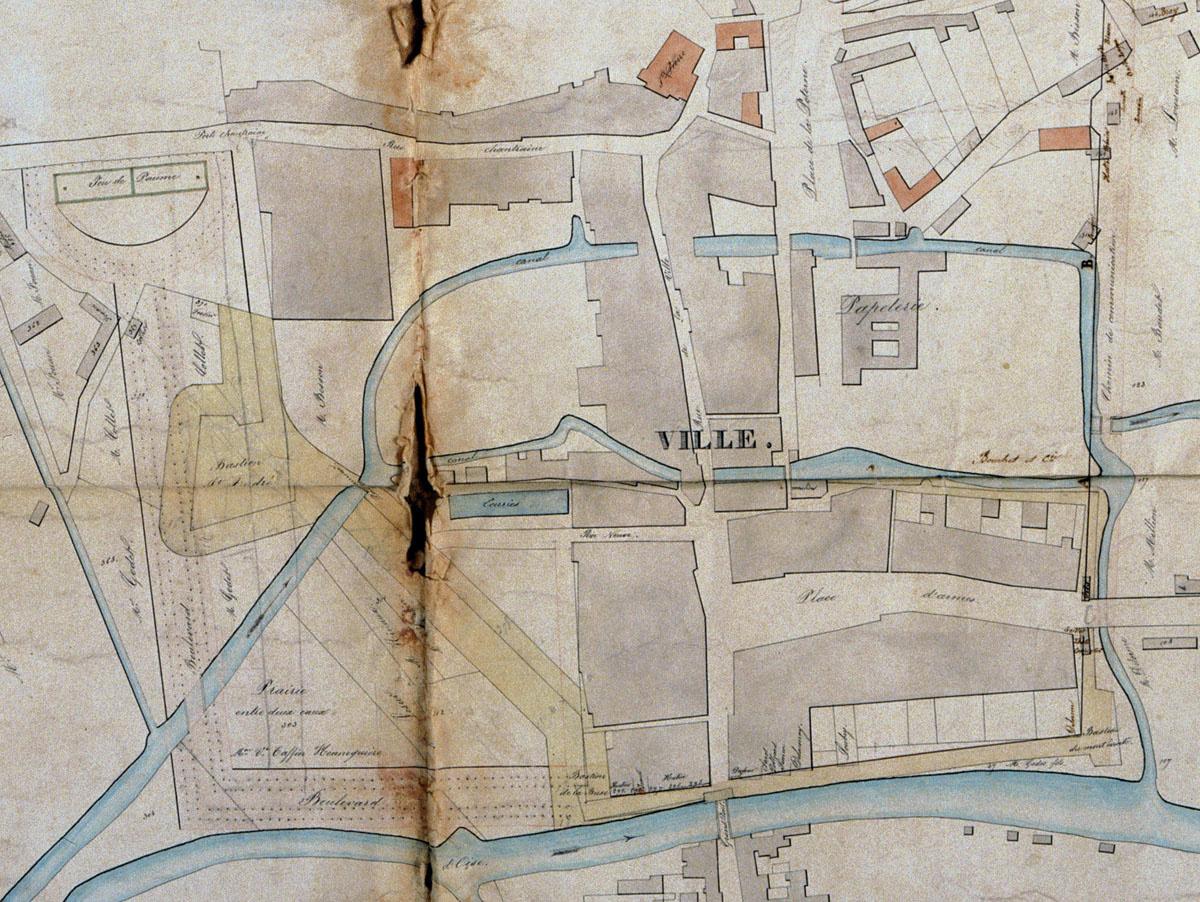 Plan de la ville de Guise, 1846 : détail.