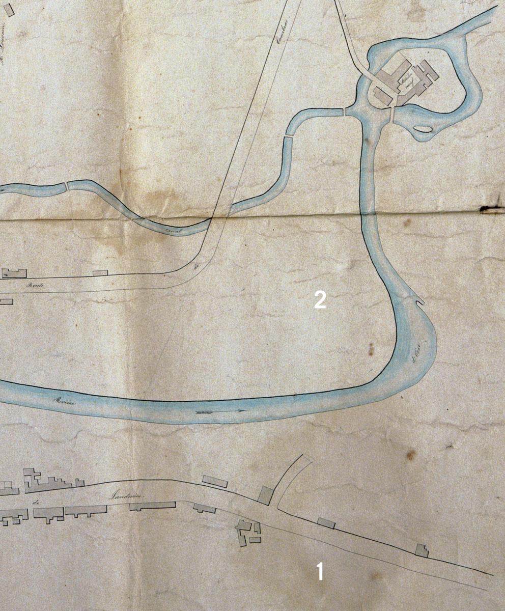 Plan de la ville de Guise, 1846 : détail avec implantation des fonderies et manu