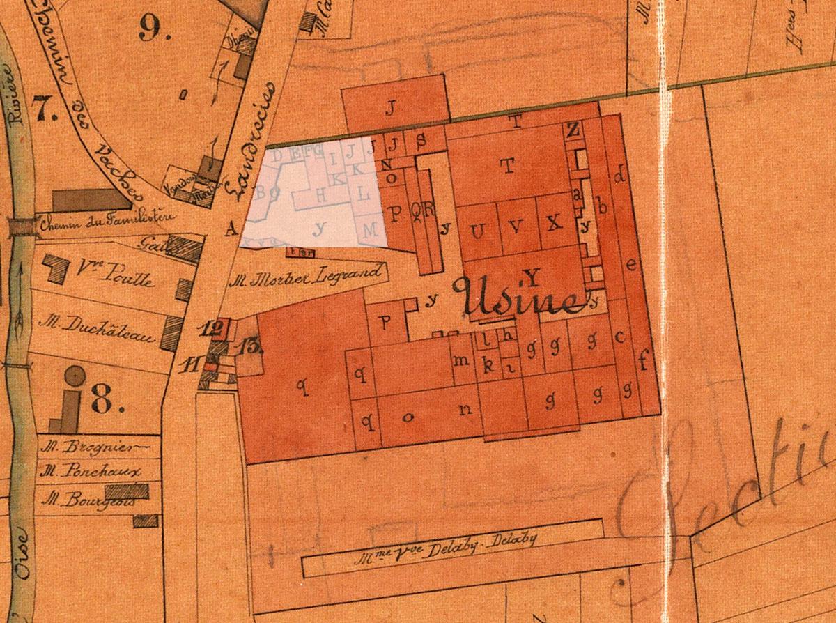 Site des premiers ateliers de l'usine du Familistère sur le plan annexé aux stat