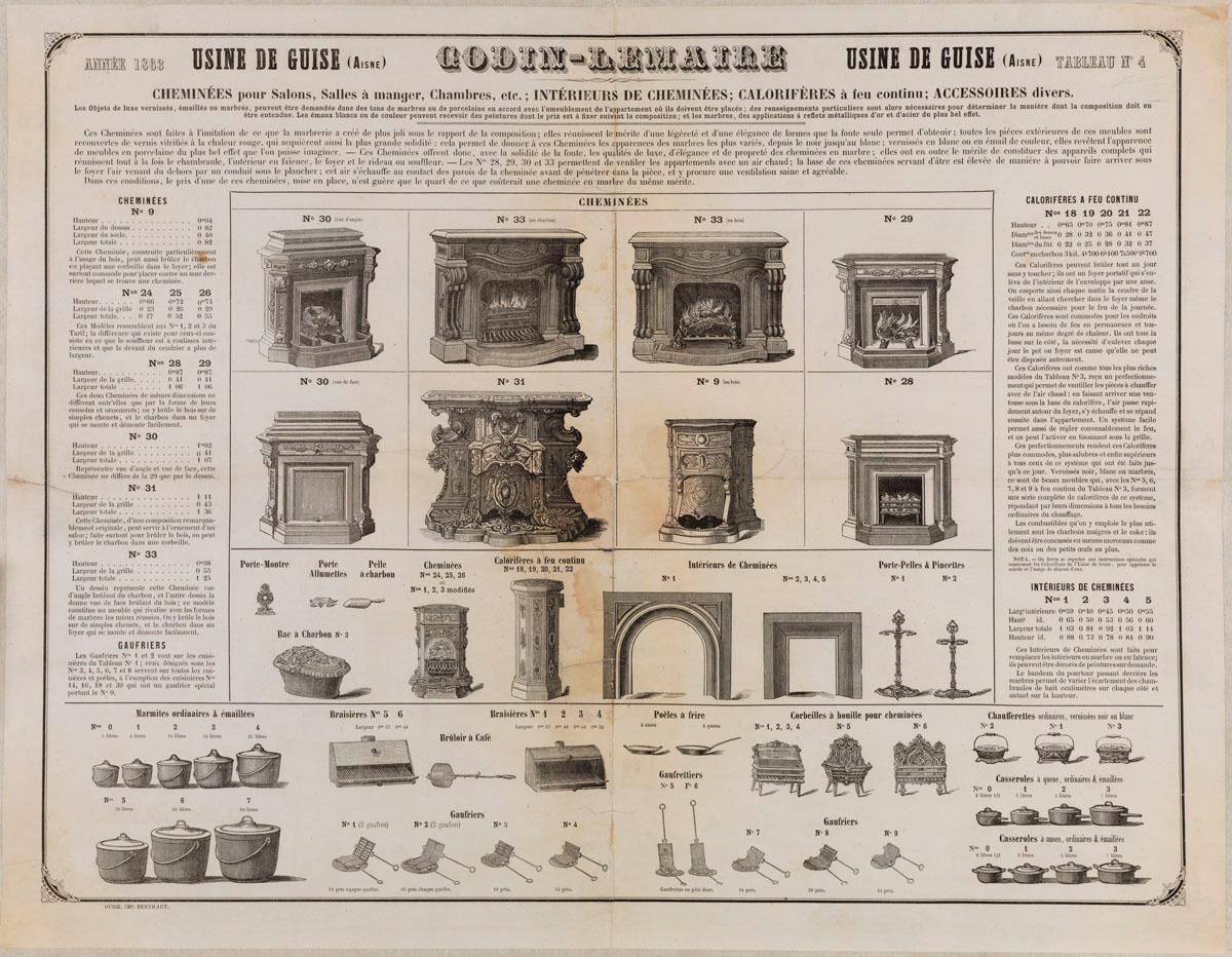 Tableau n° 4 de la production de l'usine Godin-Lemaire à Guise pour l'année 1863