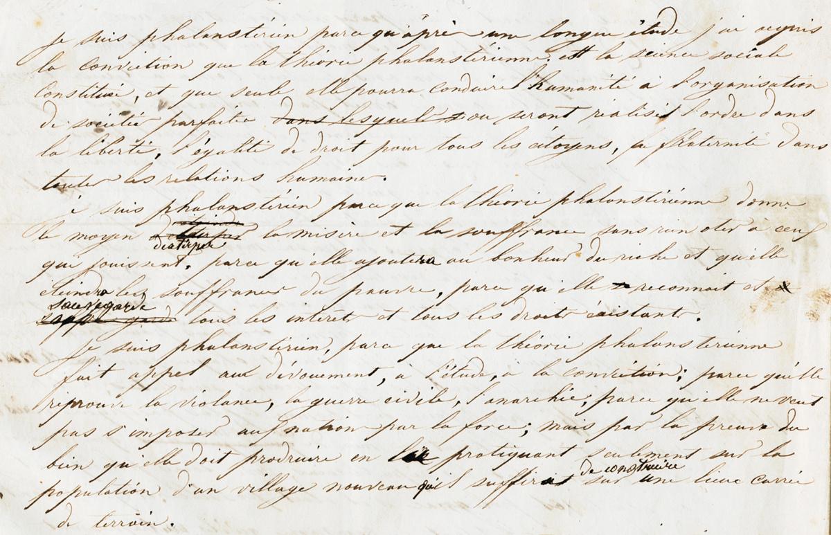 Dans une lettre adressée à la presse en 1848, Godin déclare son adhésion aux idé