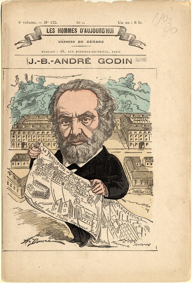 Le dessin montre Godin tenant à la main une gravure représentant le Familistère.