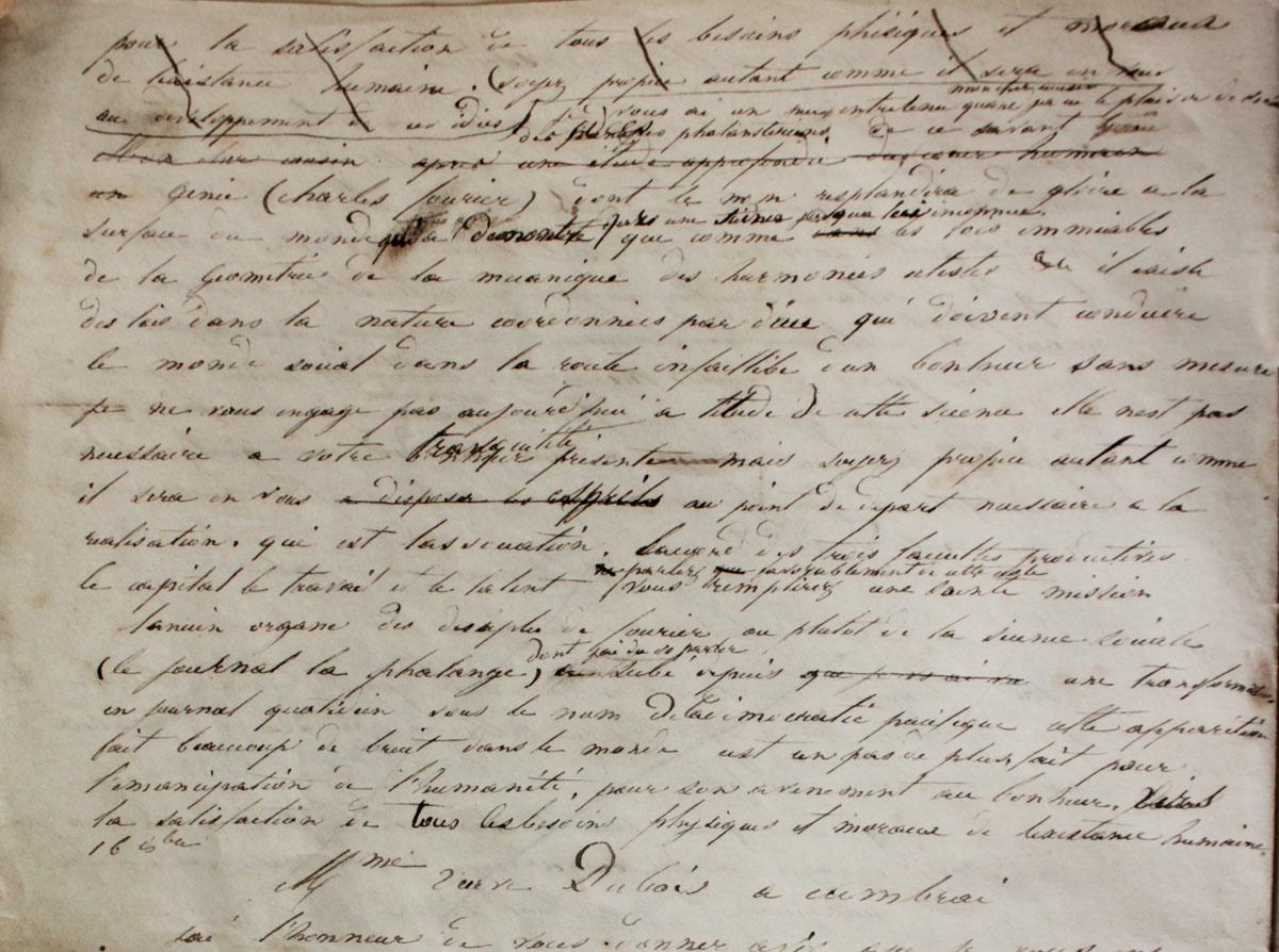 La lettre que Godin écrit à son cousin germain évoque l'engagement fouriériste d