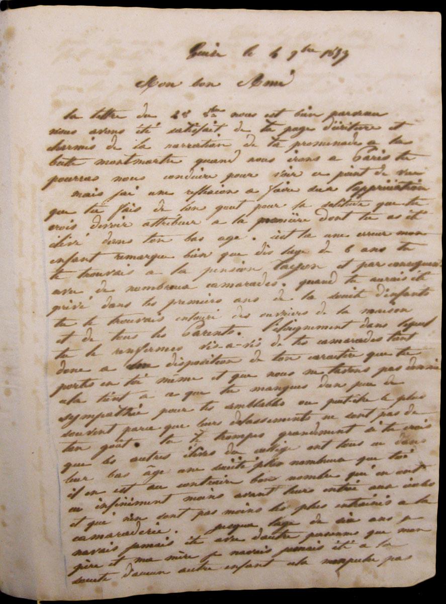 Dans cette lettre, Godin donne à son fils Emile des conseils sur sa scolarité.