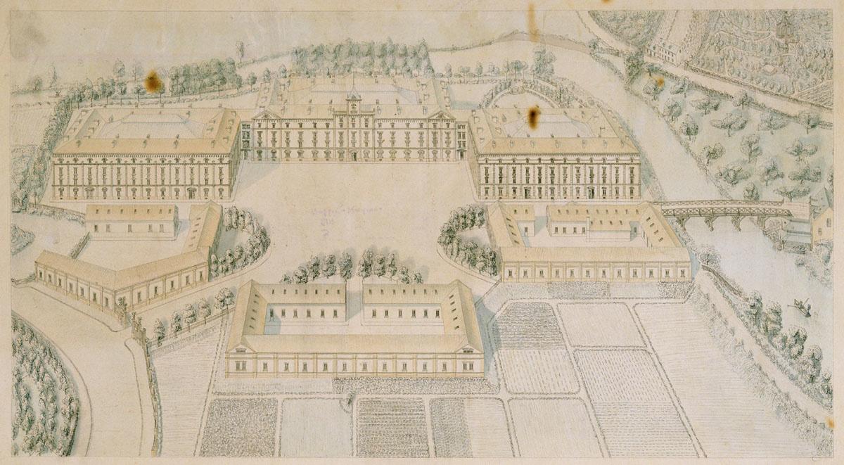 Le dessin représente une vue cavalière du Palais social, tel qu'il était projeté