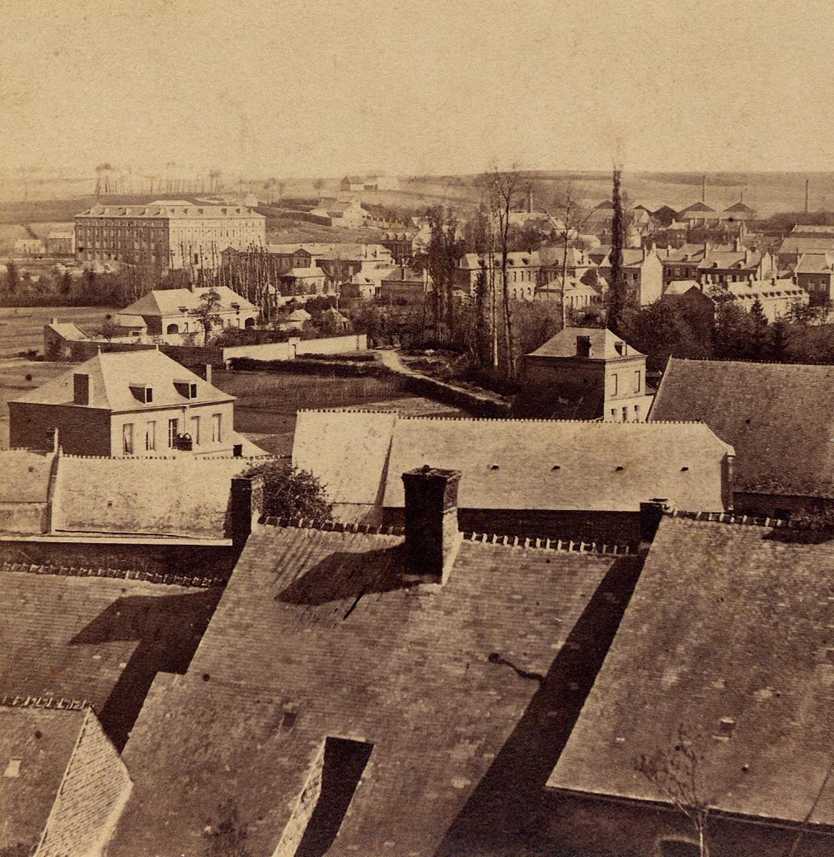 La vue stéréoscopique, l'une des plus anciennes photographies du Familistère, es