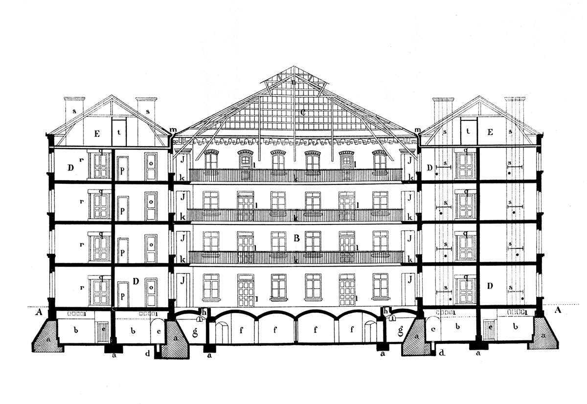 La gravure présente une coupe latérale du pavillon central du Palais social du F