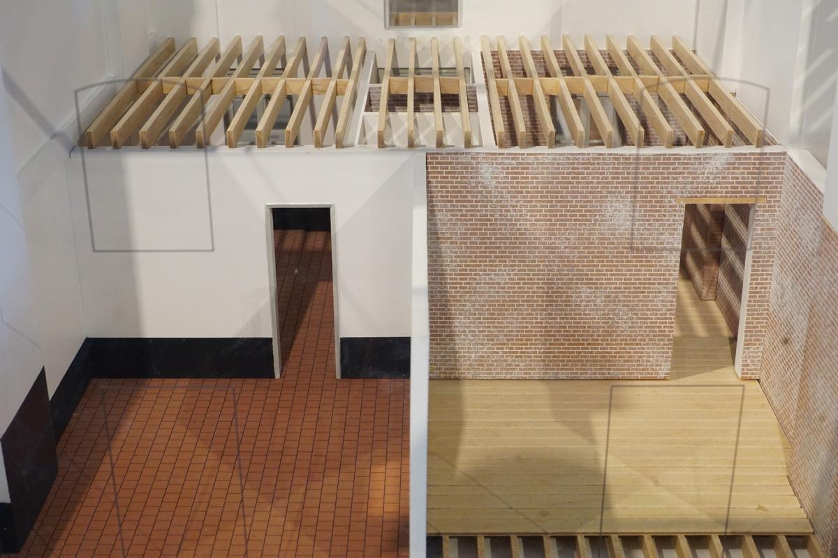 La maquette montre un écorché de la maquette sur les dispositions des appartemen