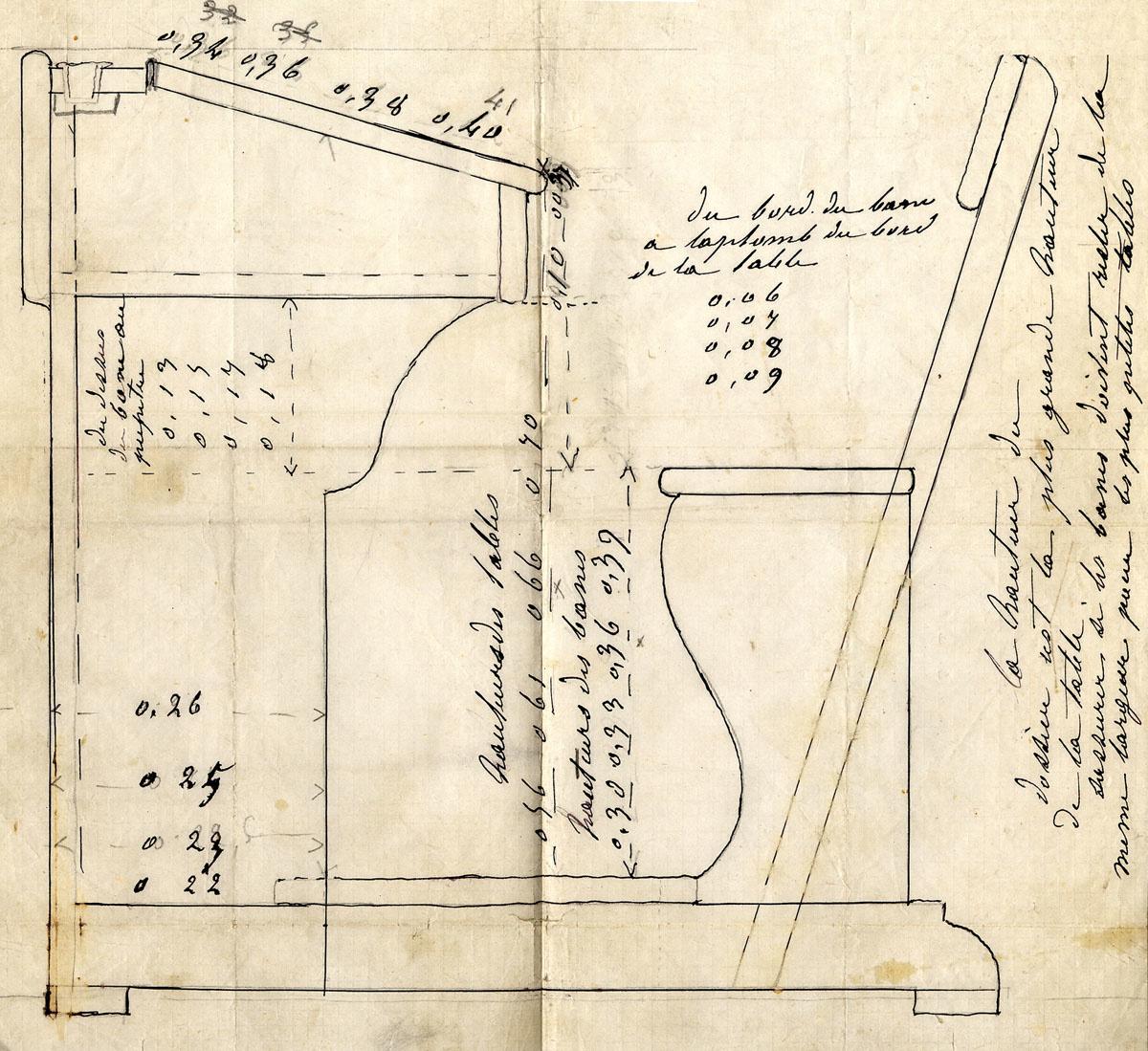 Le dessin coté représente une table-banc des écoles du Familistère.