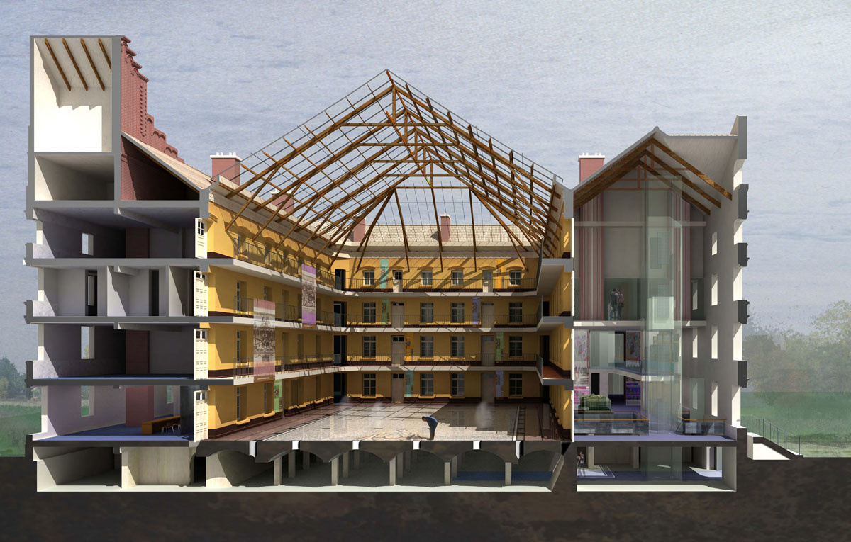 L'axonométrie du pavillon central du Familistère de Guise présente une coupe lat