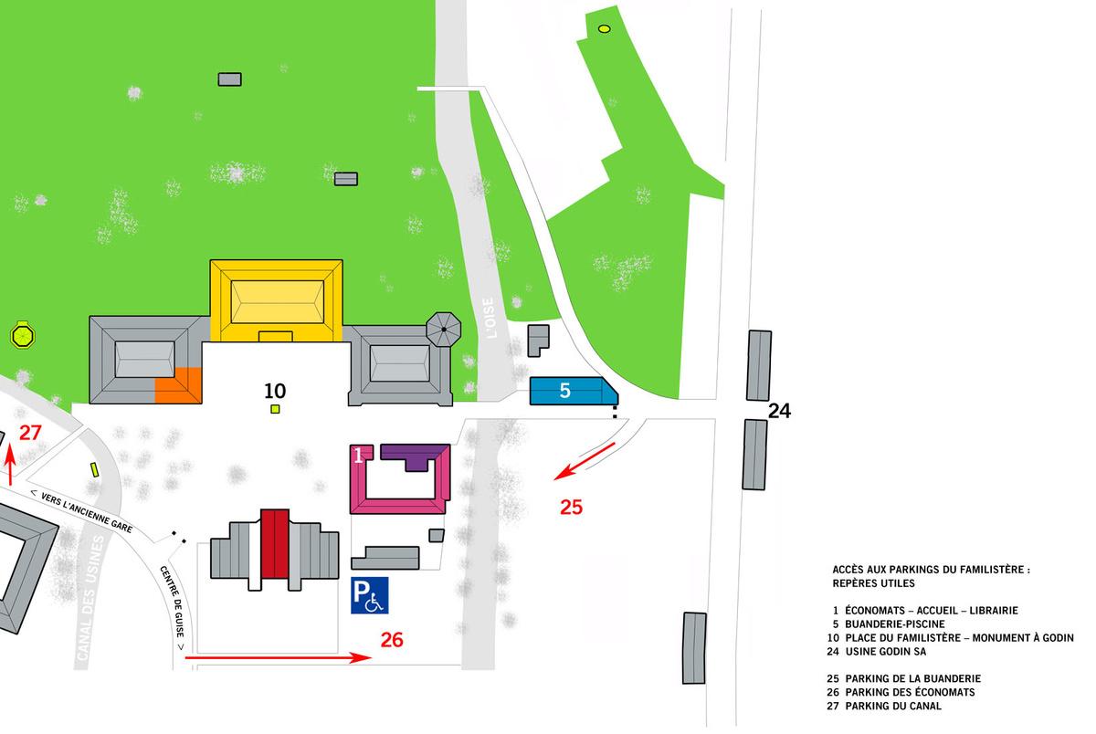Le plan décrit les accès aux parkings dédiés aux visiteurs du Familistère