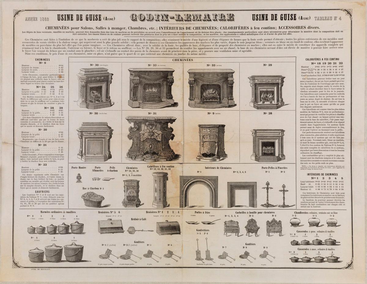 L'affichette présente une sélection d'appareils de chauffage et d'accessoires pr