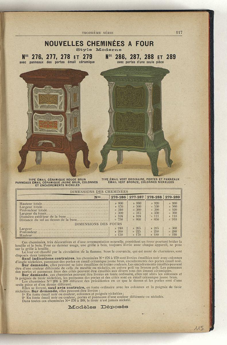 La page du catalogue de 1909 présente, en couleur, les cheminées à four de style