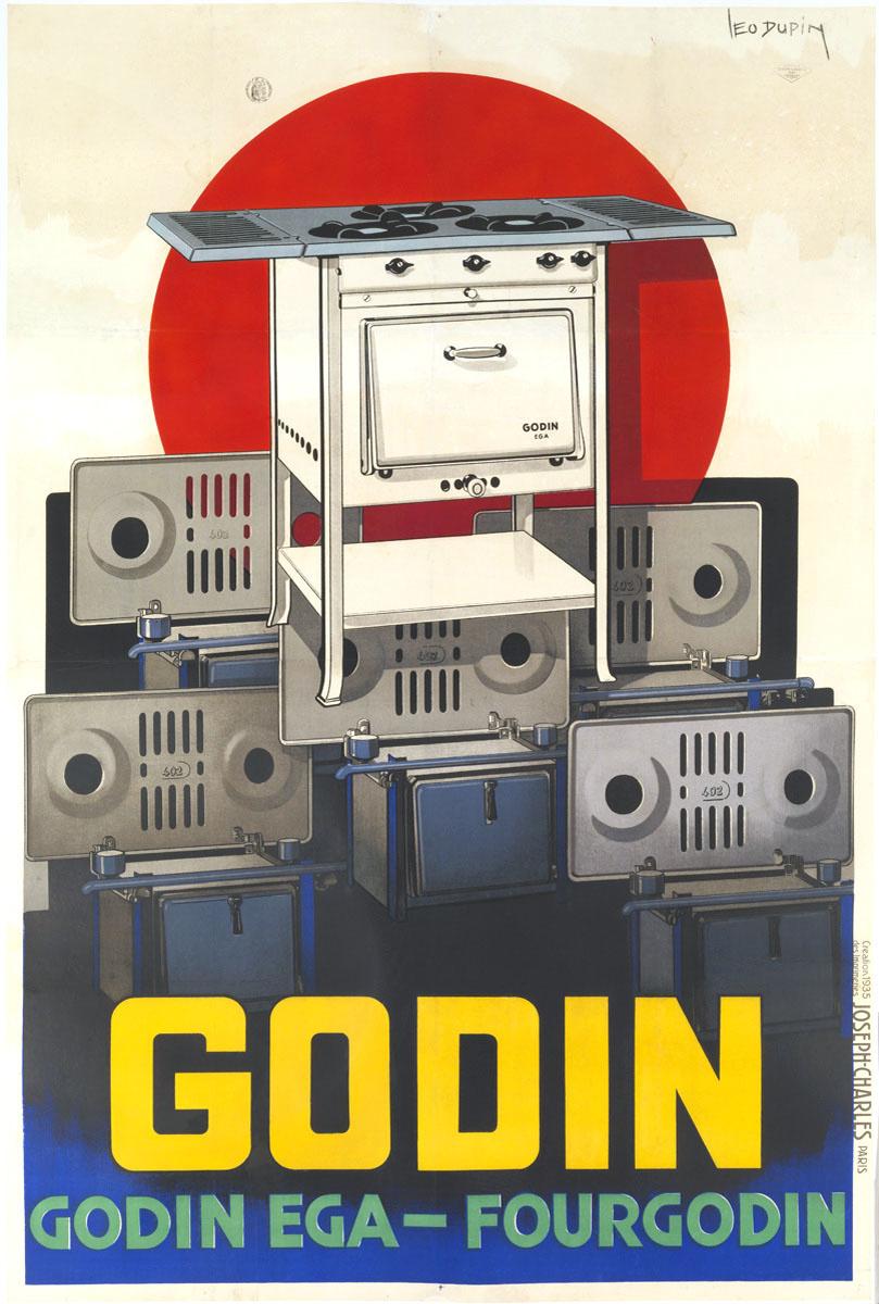L'affiche présente une accumulation d'appareils de cuisson au gaz.