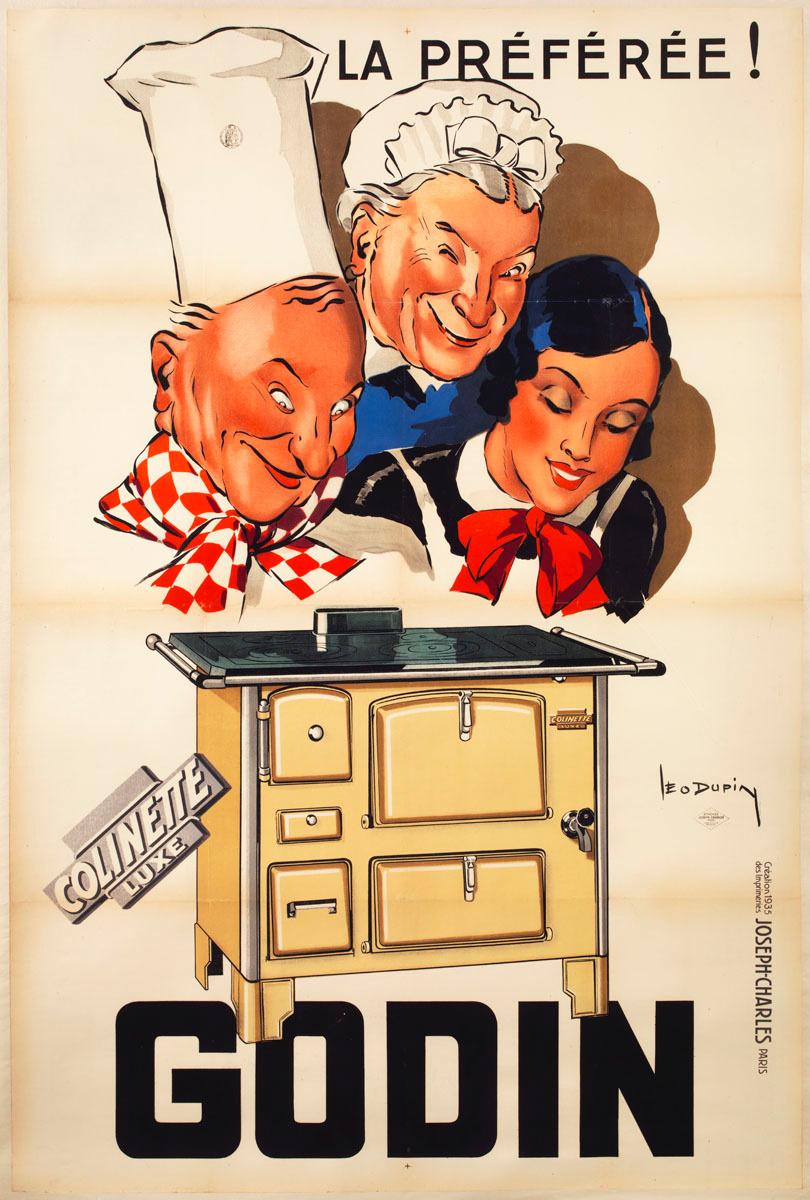 L'affiche présente une cuisinière et, au second plan, trois personnages qui expr