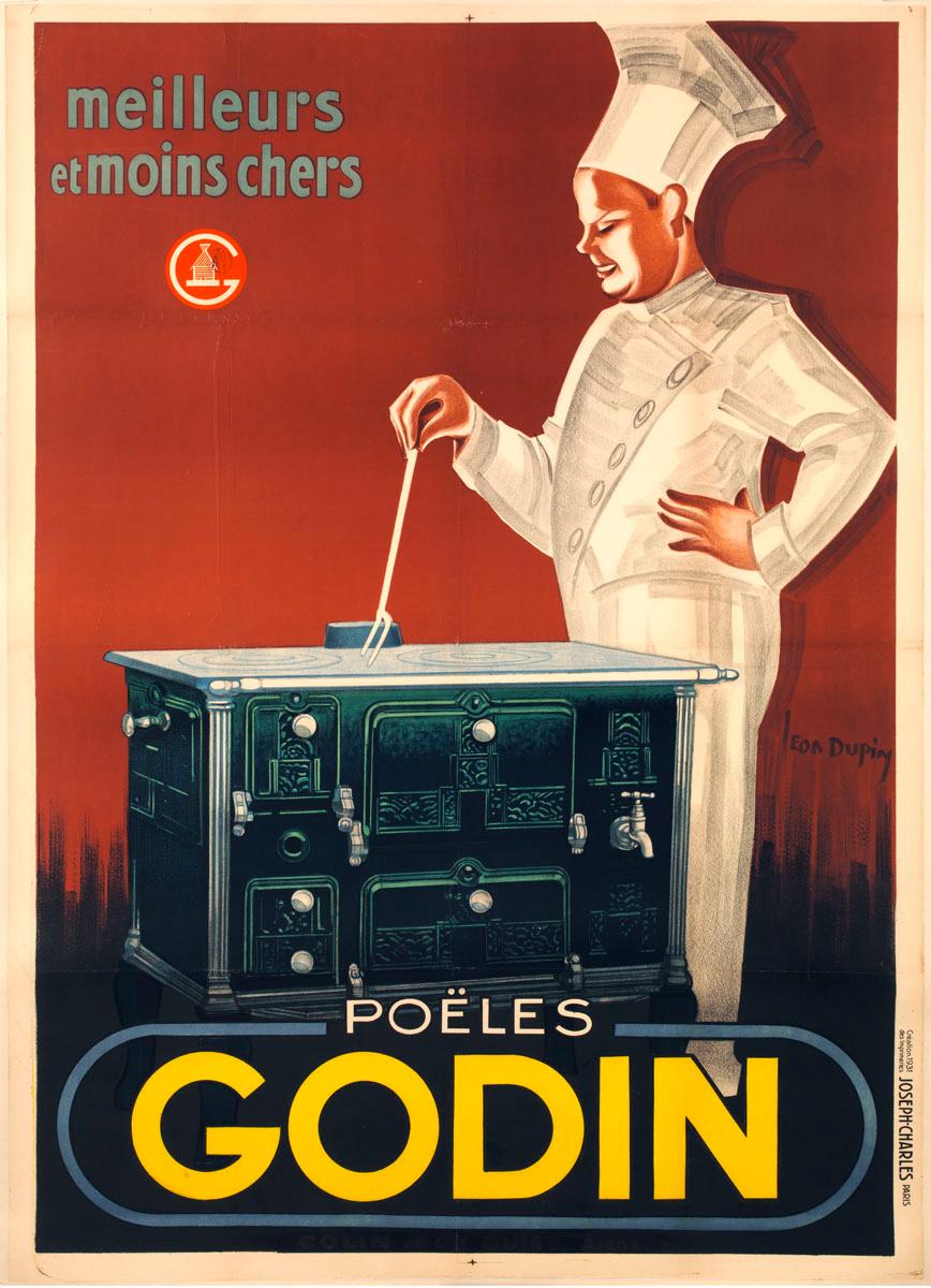 L'affiche montre un cuisinier se tenant derrière une cuisinière «Godin».