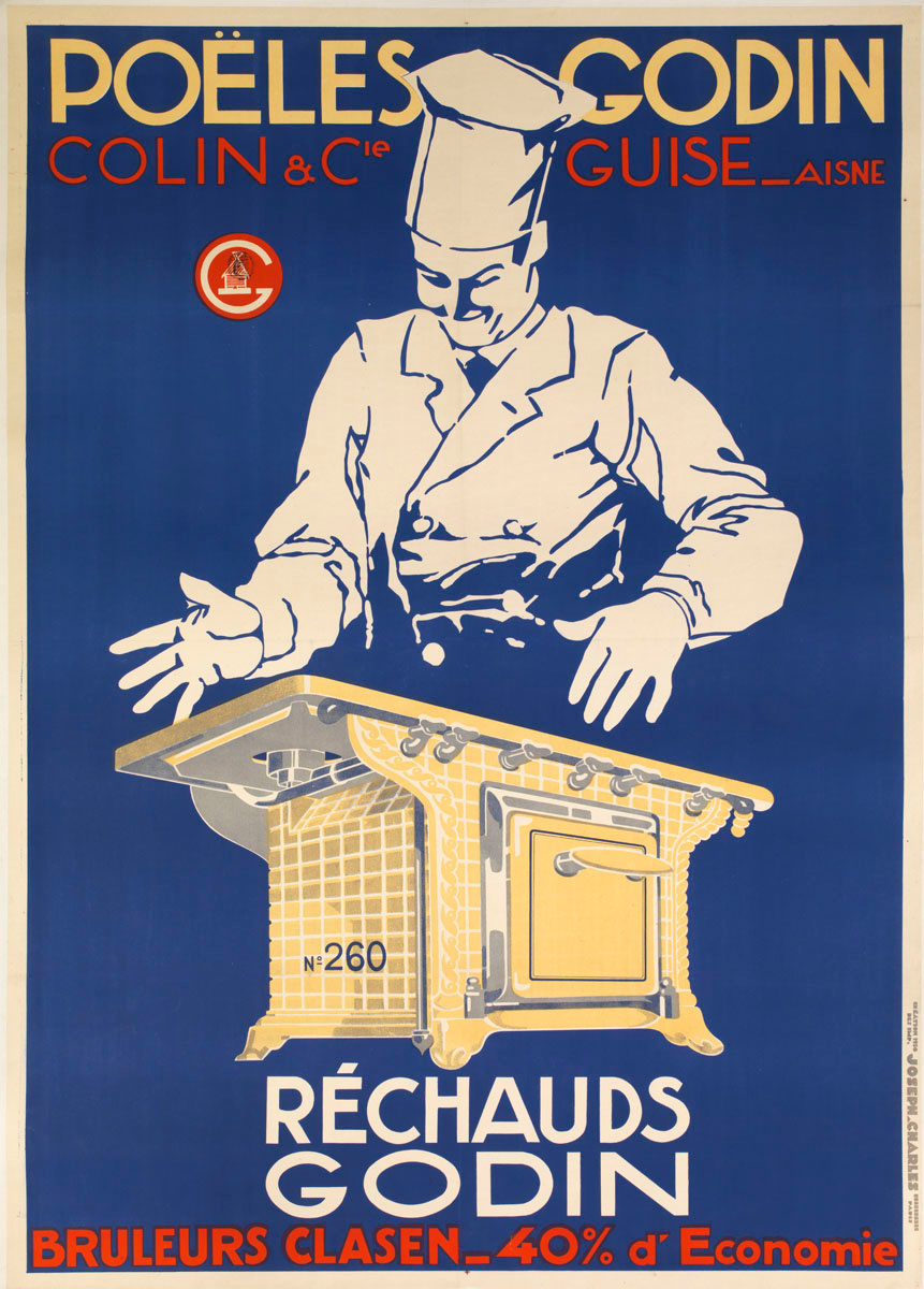 L'affiche montre un cuisinier se tenant derrière un réchaud «Godin».