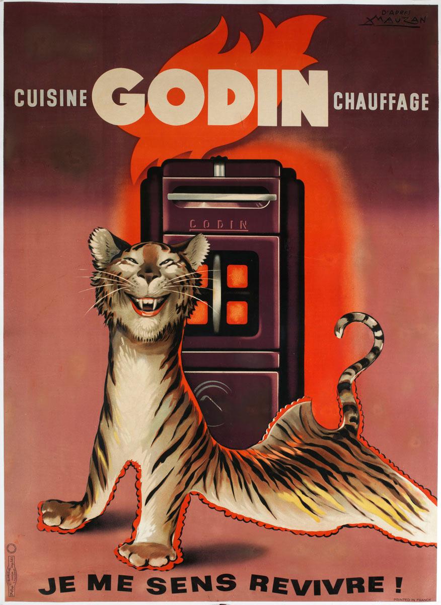 L'affiche montre un tapis fait d'une peau de tigre s'éveillant à la chaleur déga