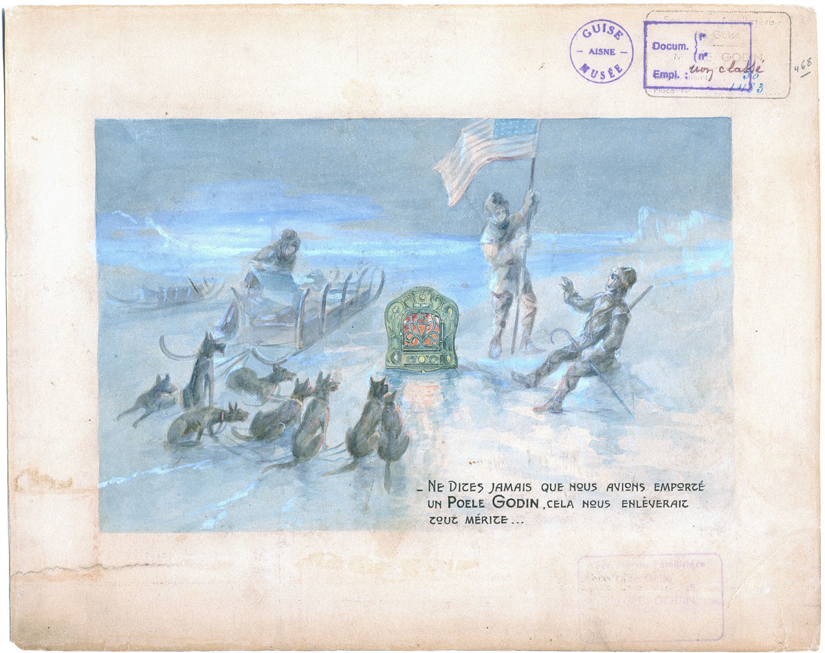 Le dessin représente l'arrivée de l'expédition de Peary au Pôle Nord