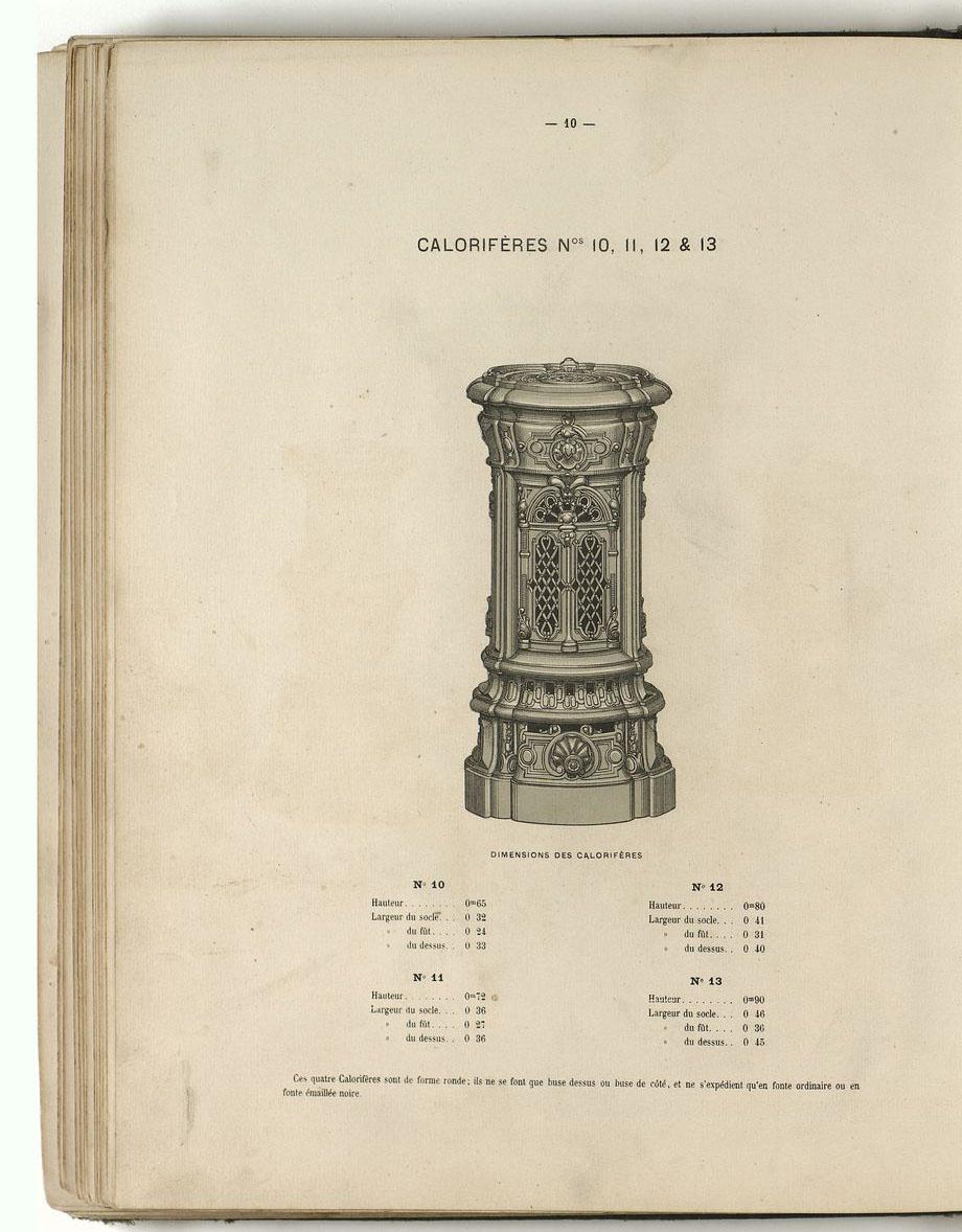 La lithographie présente de face le modèle des calorifères numéros 10 à 13.