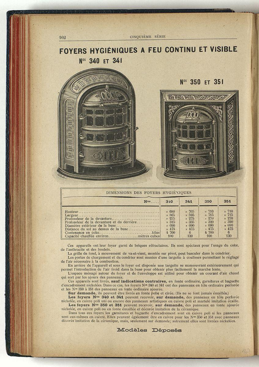 La page du catalogue présente le foyer hygiénique n° 340.
