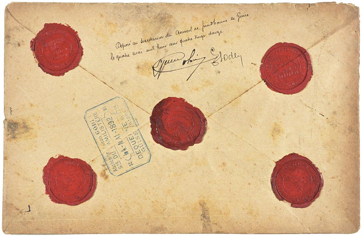 L'enveloppe est cachetée et porte la date du 4 mai 1892.