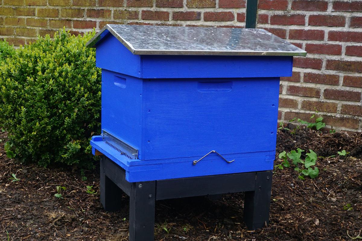 Une ruche bleue est installée dans le jardin d'agrément.