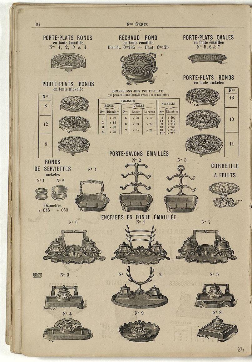 La page du catalogue présente différents articles de quincaillerie, dont les enc
