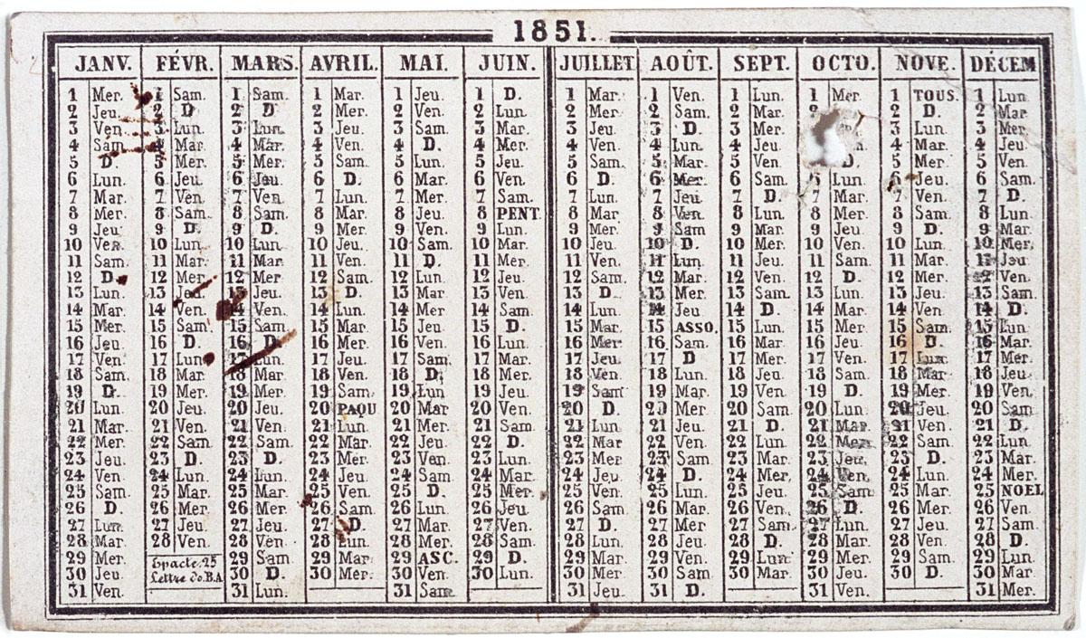 Sur le verso de la carte est imprimé un calendrier pour l'année 1851.