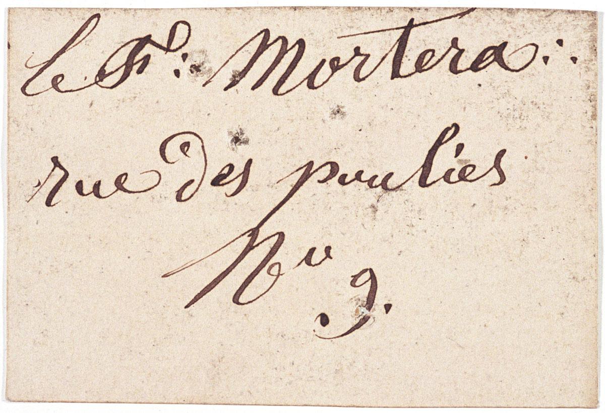 Le verso de la carte porte une inscription manuscrite à l'encre.