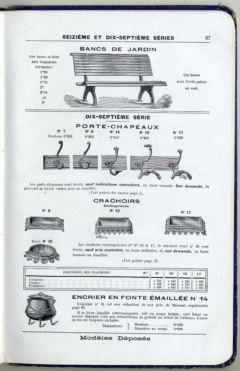 La page du catalogue présente des articles de quincaillerie, dont l'encrier n° 1