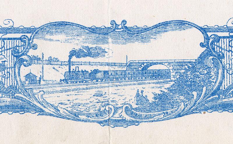 La vignette en bas au centre de la bordure représente un train à vapeur