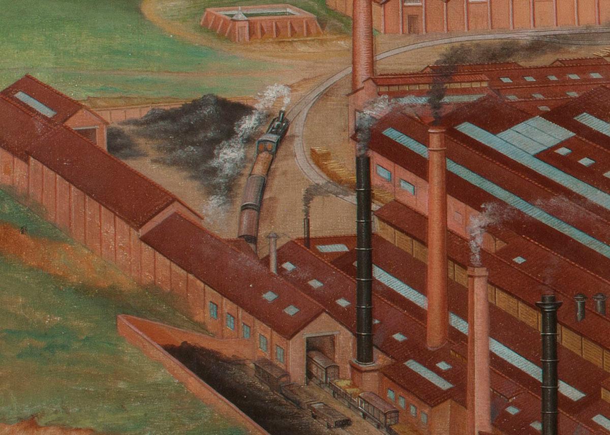 Le détail de la peinture montre un train de l'usine du Familistère.