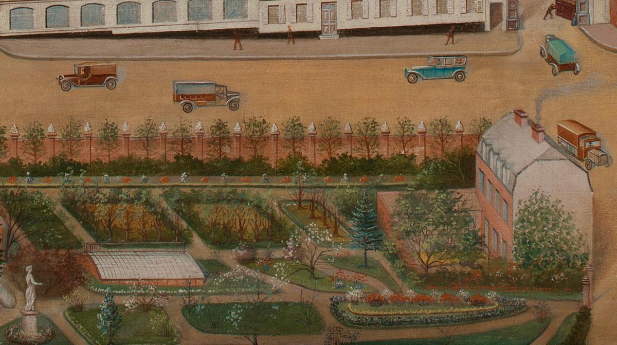 Le détail de la peinture montre le jardin d'agrément du Familistère.