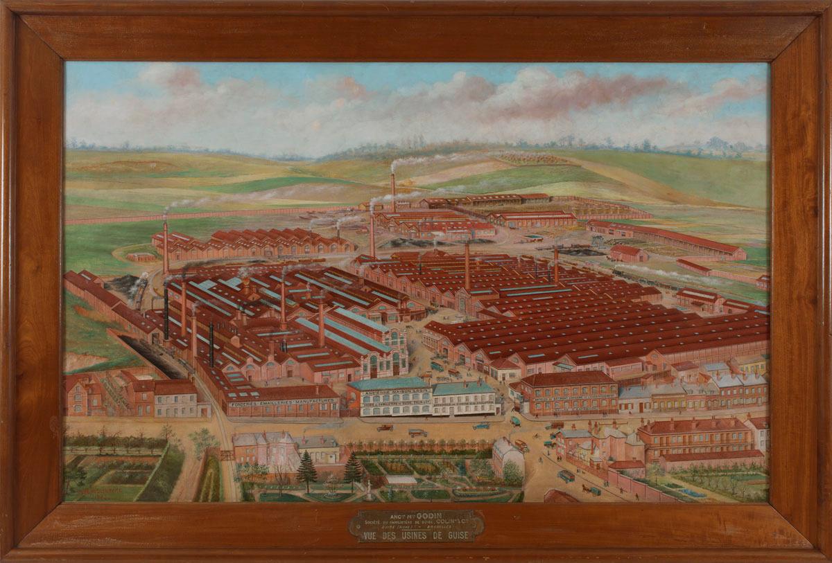 La peinture représente une vue cavalière de l'usine du Familistère.
