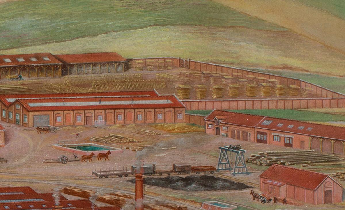 Le détail de la peinture montre la scierie de l'usine du Familistère.