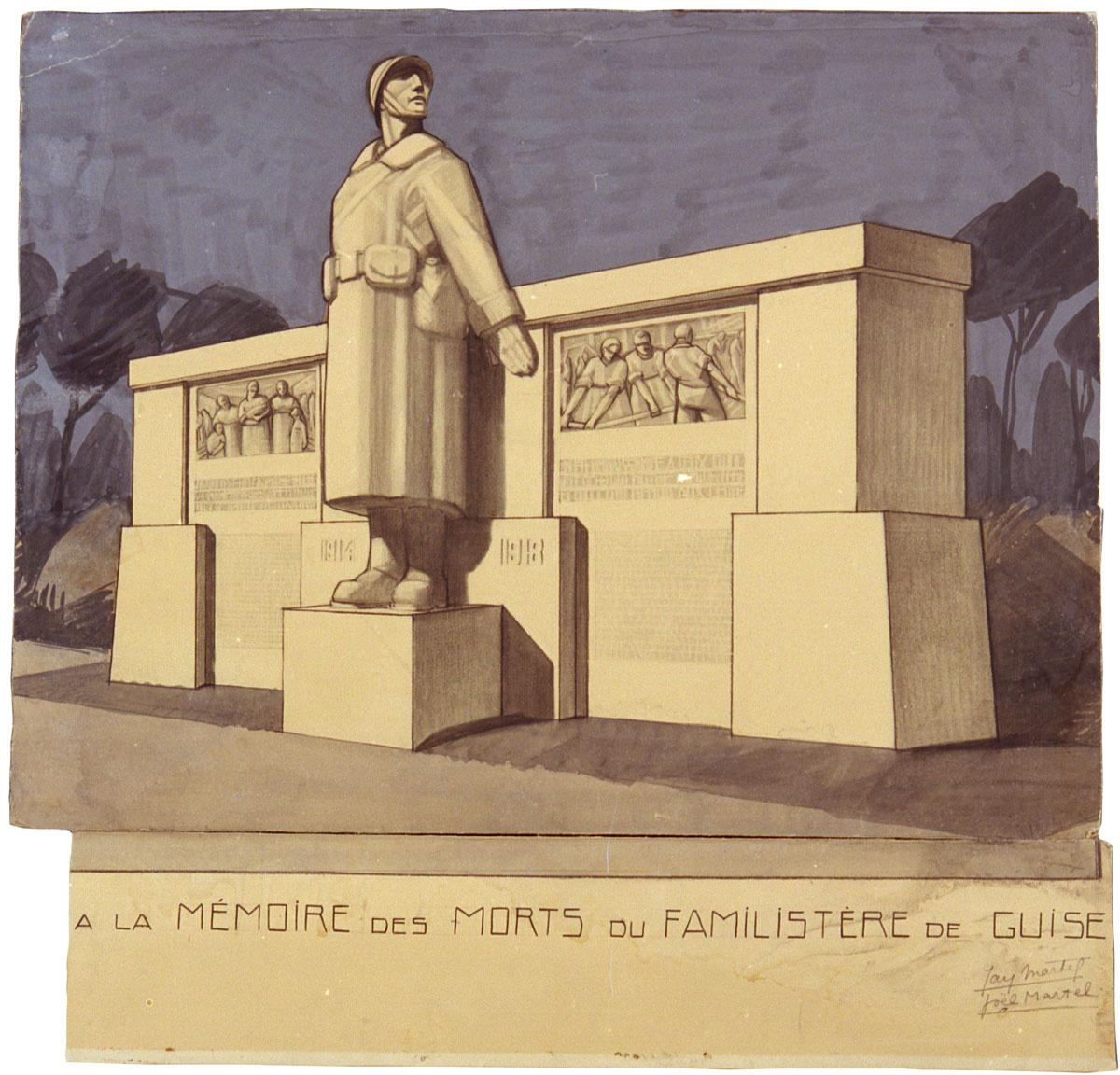 Le dessin représente le projet du monument aux morts du Familistère