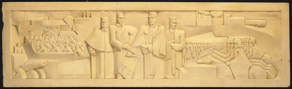 Le relief représente la préparation de la bataille de Guise, le 28 août 1929.