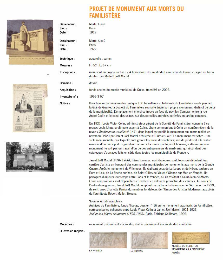 Les notices de la rubrique « Collections » sur le site internet du Familistère c