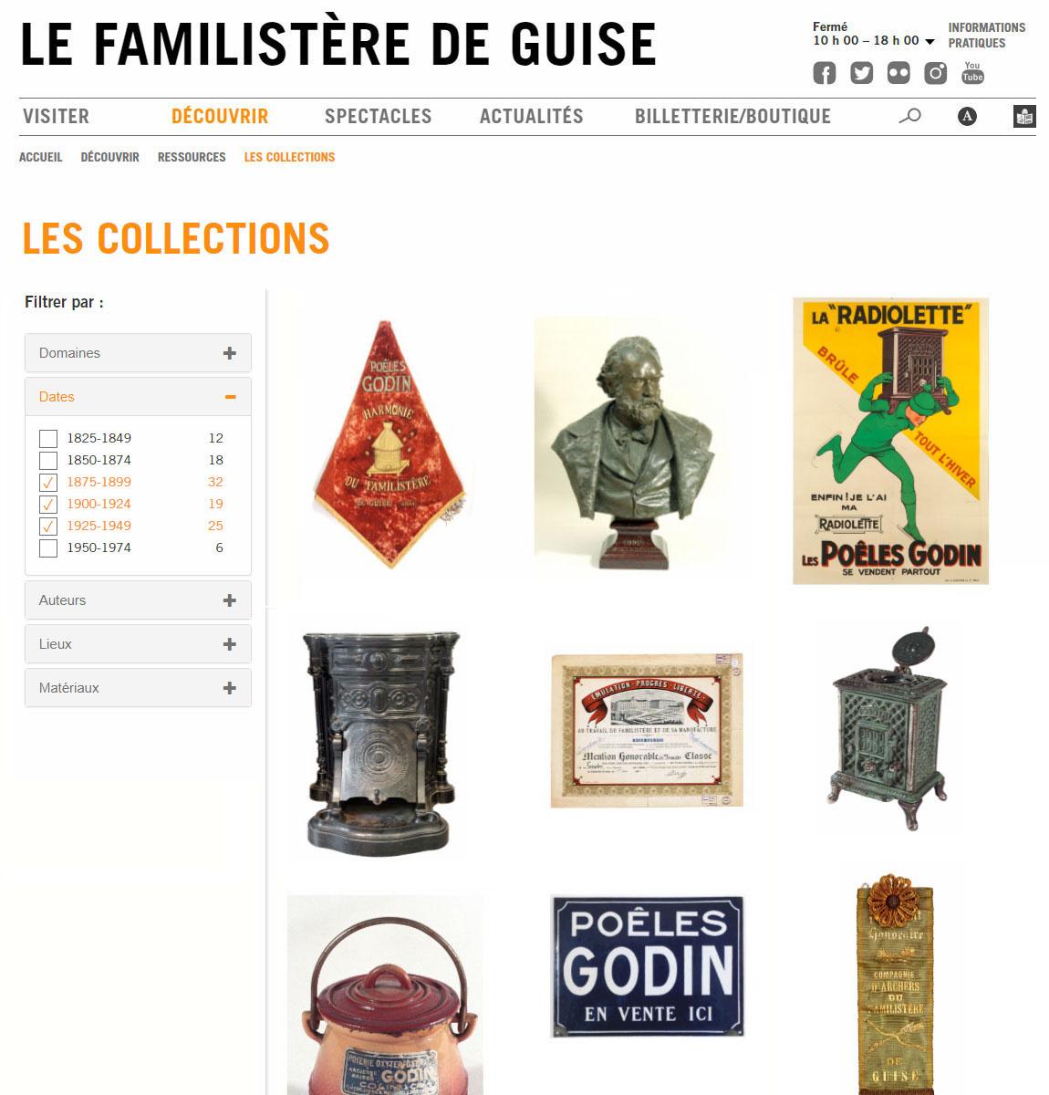 La page d'accueil des Collections sur le site internet du Familistère présente u