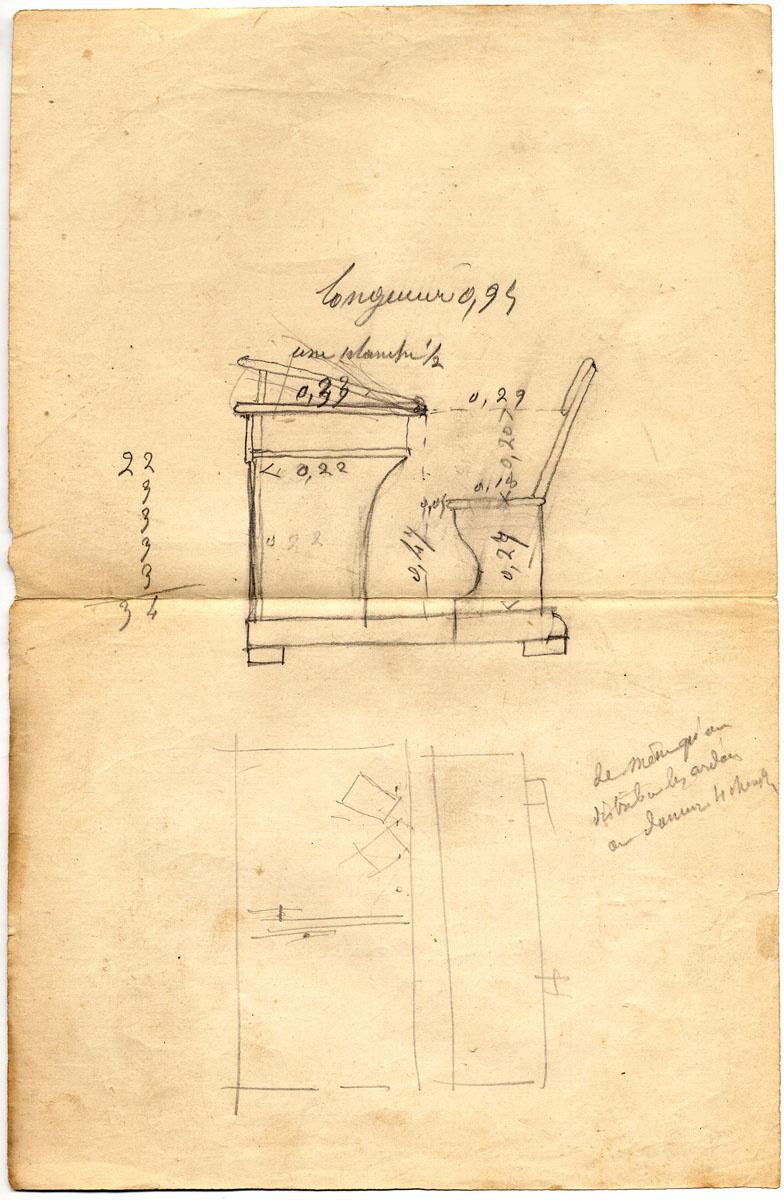 Le dessin, annoté, représente une table-banc des écoles du Familistère