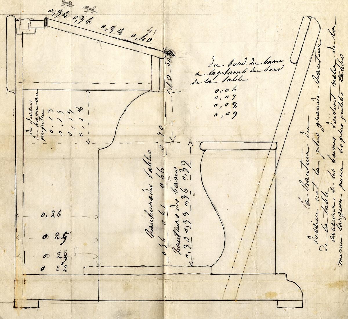 Le dessin, coté et annoté, représente une coupe de la table-banc des écoles du F