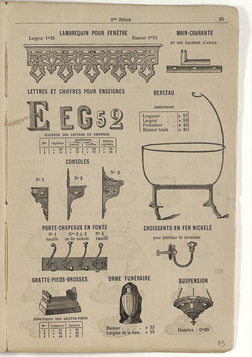 Sur cette page du catalogue de 1880, apparaît le modèle du berceau.