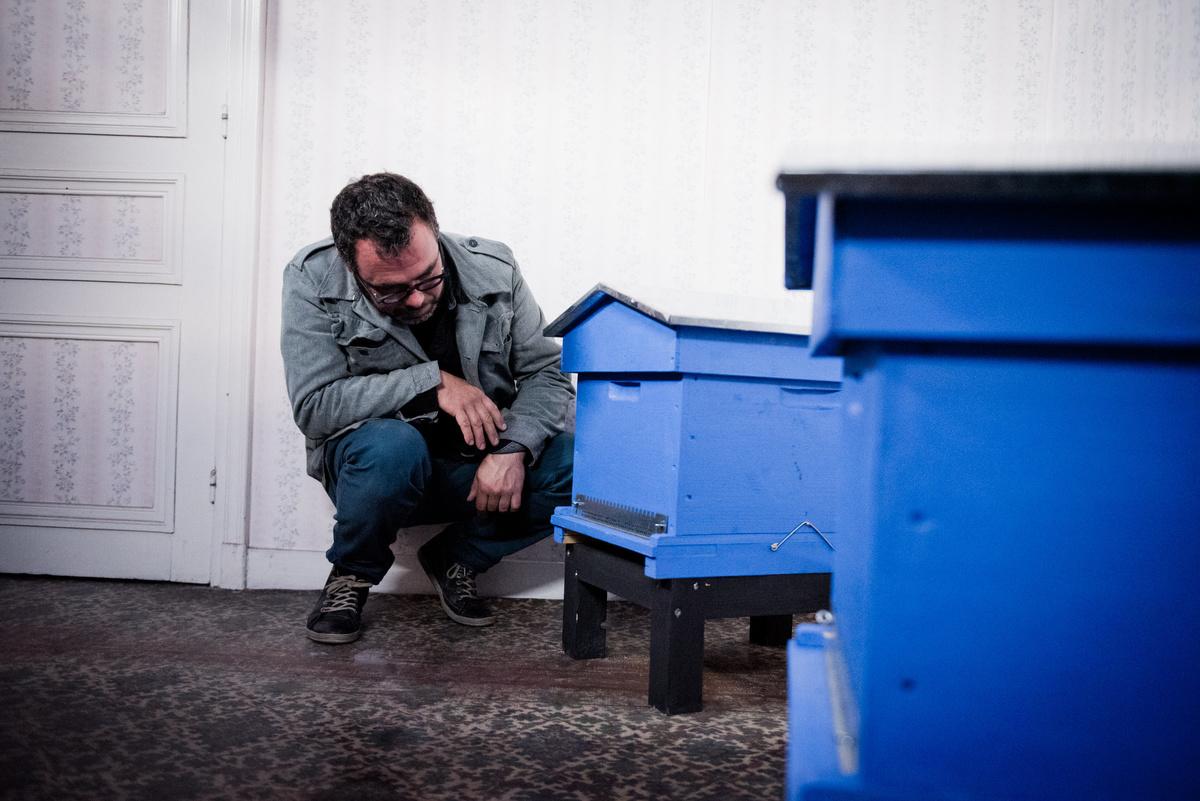 Olivier Darné devant les ruches dans la chambre de pollinisation située dans l'a