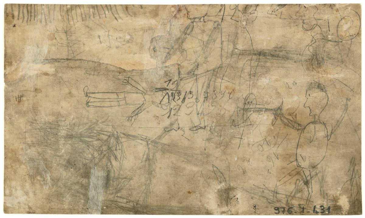 Verso du carton de montage du portrait collectif des ouvriers de la fonderie.