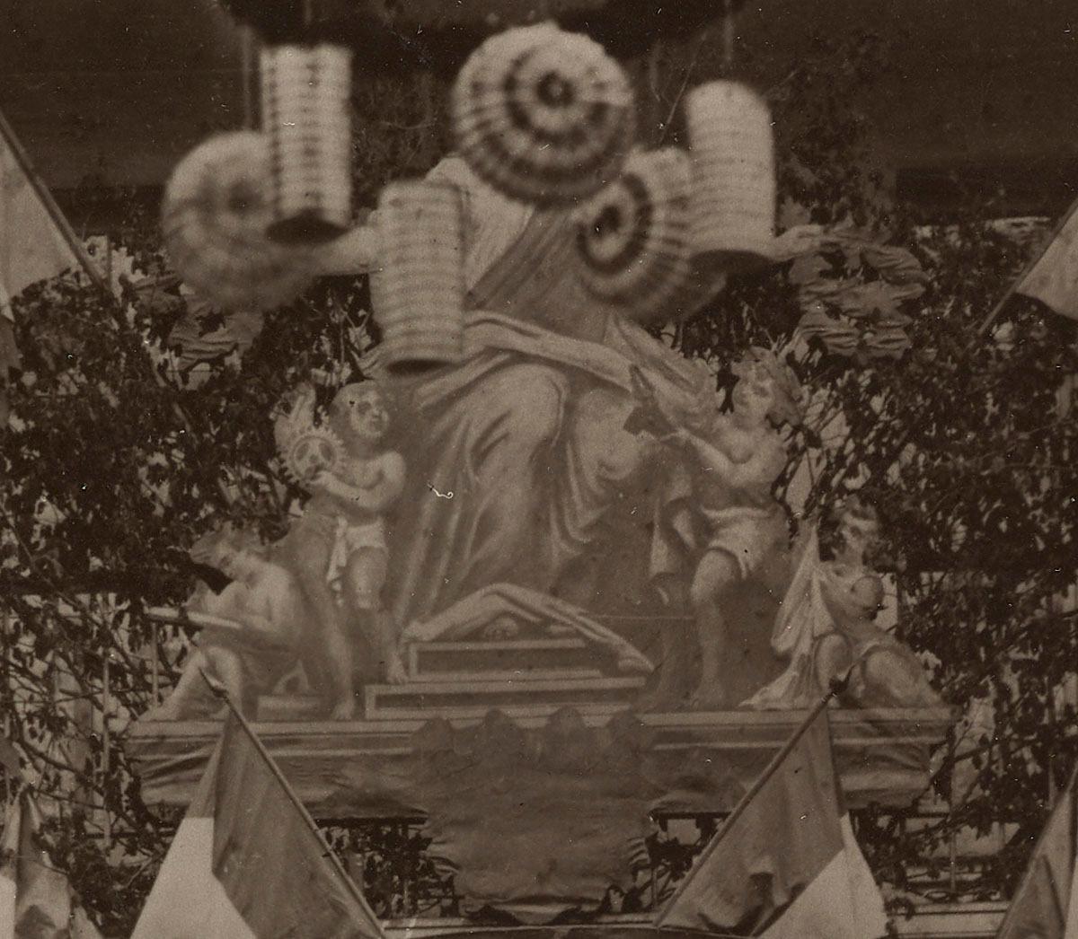 Détail de la photographie du trophée des arts industriels montrant la peinture a